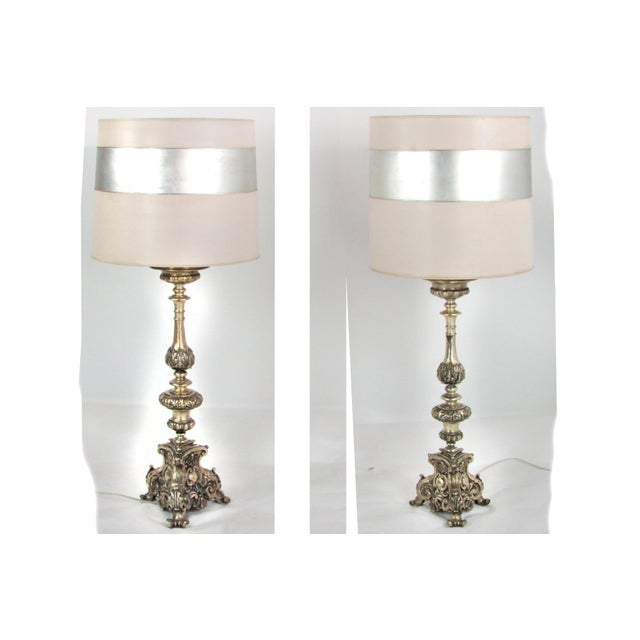 Ornate Hammered Tin Lamps - A Pair - Image 2 of 7