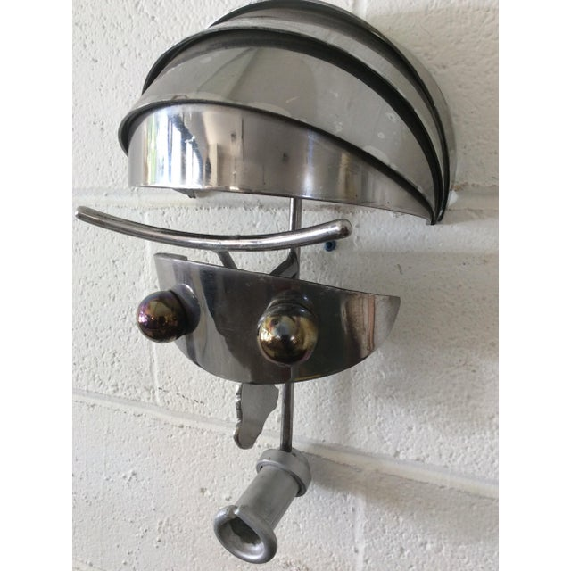 Vintage Iron & Steel Atomic Robot Wall Sculpture For Sale - Image 9 of 9