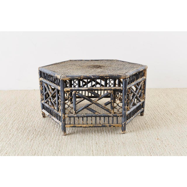 Hexagonal Bamboo Brighton Chinese Chippendale Cocktail Table For Sale - Image 11 of 13