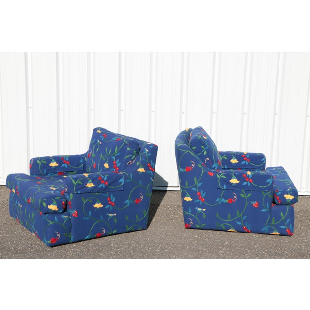 Royal Blue Crewel Embroidered Floral Strawberry Club Chairs - a Pair For Sale - Image 8 of 11