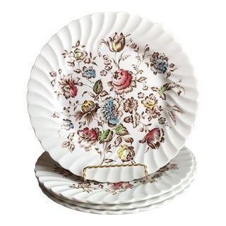 4 Staffordshire Bouquet England Ironstone Dinner Plates