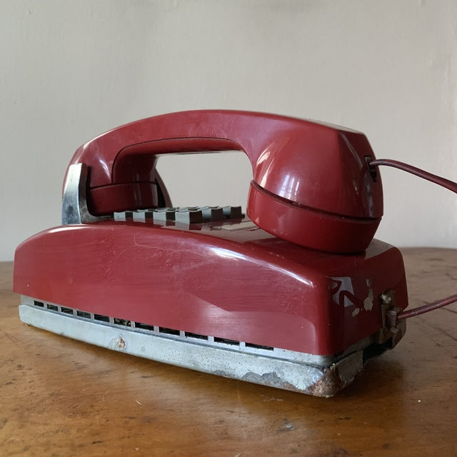 Vintage Red Push Button Telephone For Sale - Image 9 of 11