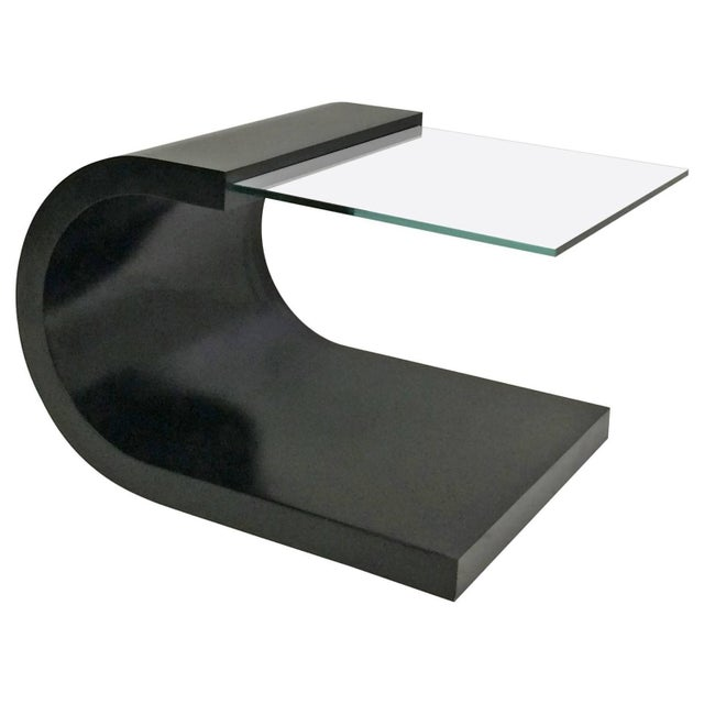 Waterfall Black Lacquer & Glass End Table For Sale