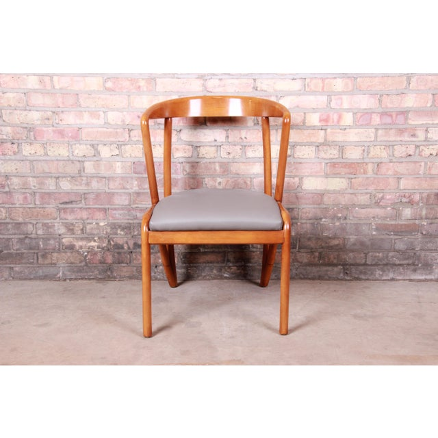 Wood Baker Furniture Mid-Century Modern Sculpted Solid Maple Dining Chairs, Set of Six For Sale - Image 7 of 13