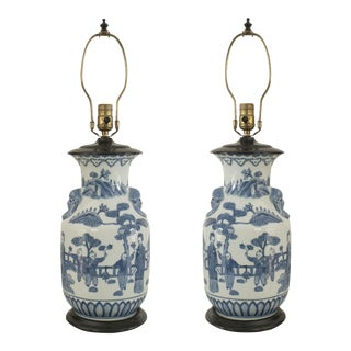 Asian Chinese Style Blue & White Vase Form Table Lamps- A Pair For Sale