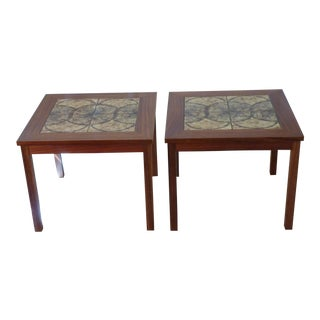 Danish Tile Top Coffee Tables - A Pair For Sale