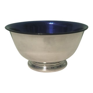 Silverplate Paul Revere Bowl With Blue Liner