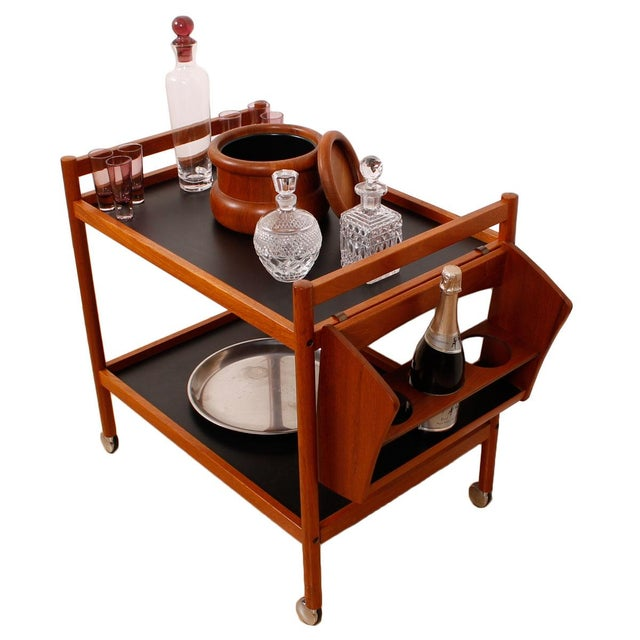 Danish Teak Bar Cart With Removable Wine Caddy - Image 5 of 10