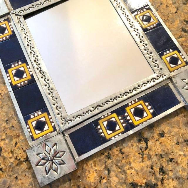 1970s Vintage Mexican Blue and White Handmade Tile Mirror For Sale - Image 5 of 12