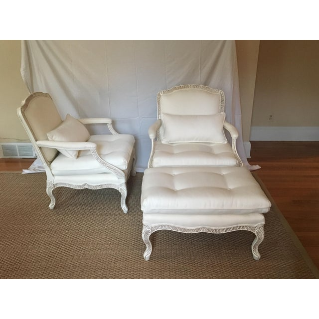 Bergere Chairs With Ottoman - Set of 3 - Image 2 of 11