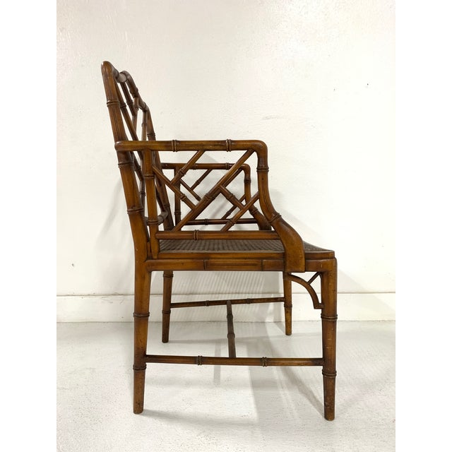 Chinese Chippendale Style Faux Bamboo Arm Chair For Sale - Image 4 of 9