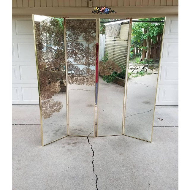 Vintage Gold Etched Mirror Room Divider For Sale - Image 10 of 10