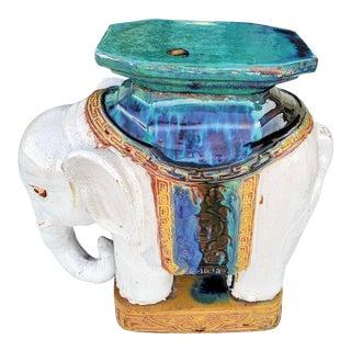 Mid-Century Asian Glazed Ceramic Elephant Garden Stand For Sale