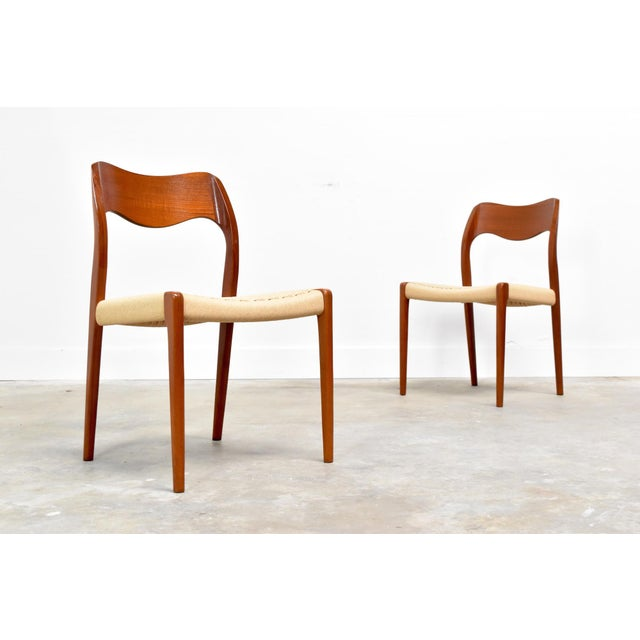 1960s j.l. Møller Model 71/55 Teak & Danish Cord Dining Chairs - Set of 8 For Sale - Image 5 of 13