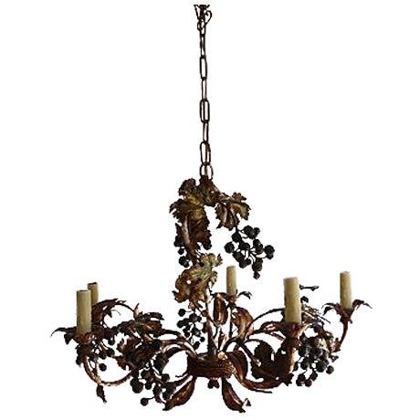 Rustic iron grapevine chandelier chairish aloadofball Gallery