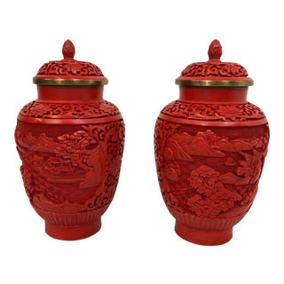 Pair of Cinnibar Lacquerware Ginger Jars
