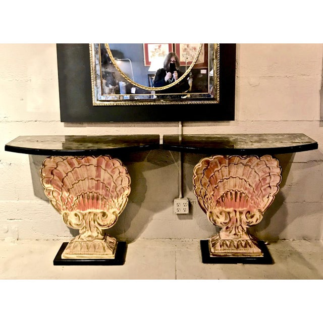 Gold Hollywood Regency Shell Consoles - a Pair For Sale - Image 8 of 8