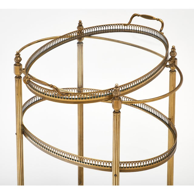 1940s Art Deco Period Brass Oval Bar Cart For Sale - Image 5 of 10