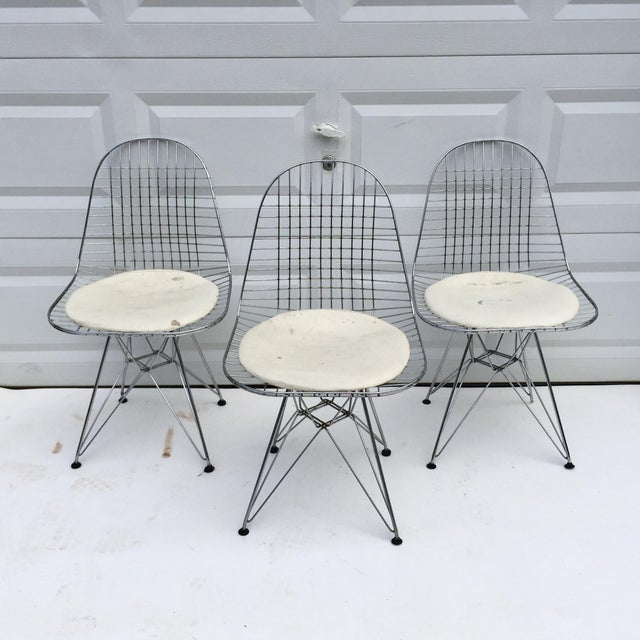 """Textile Mid-Century Modern """"Eiffel"""" Style Chairs - Set of 3 For Sale - Image 7 of 7"""