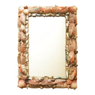 1970s Seashell and Mother of Pearl Encrusted Mirror For Sale