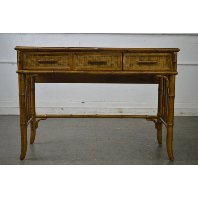 American of Martinsville American of Martinsville Faux Bamboo & Wicker Writing Desk For Sale - Image 4 of 13