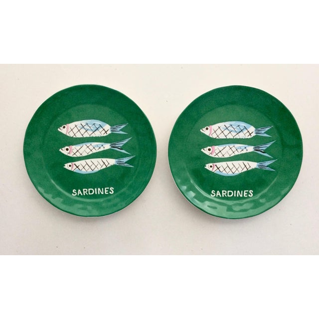 "Danielle Kroll ""Sardine"" Pictorial Dessert Plates - A Pair For Sale - Image 4 of 4"