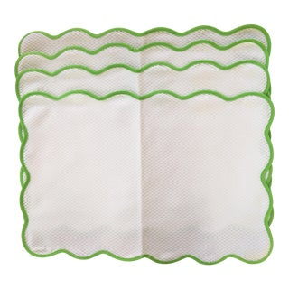 Matouk Lanai Patterned Scalloped Placemats - Set of 4 For Sale
