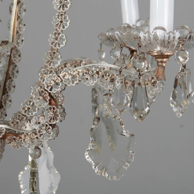 White Italian Chandeliers With Round Beads and Original Beaded Canopies - a Pair For Sale - Image 8 of 12