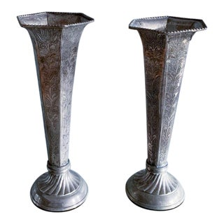 Pair, Silver Finish Vases For Sale
