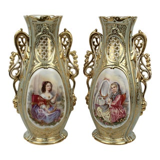 Large 19th Century Old Paris Porcelain Vases with Young Maidens - A Pair For Sale