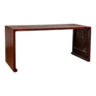 Burmese Vintage Waterfall Console Table with Scrolling Feet and Dark Patina For Sale
