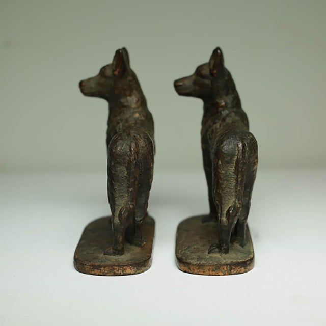 "Early 20th Century Solid Bronze German Shepard Bookends Stamped ""1929 Gift House Inc. Nyc"" For Sale - Image 5 of 6"