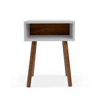 Minimo Modern Kids Nightstand in Walnut & Birch With Gray Finish Preview