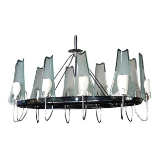 1950s Italian Metal and Glass Oval Chandelier by Stilnovo For Sale