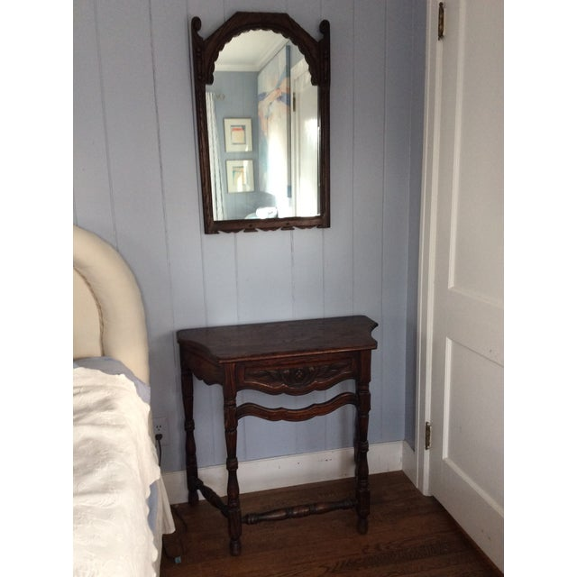 Early 19th Century Early 19th Century Rustic Dark Oak Console and Mirror - 2 Pieces For Sale - Image 5 of 13