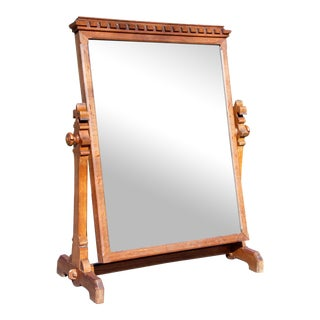 Antique Heavy Oak Wood Frame Free Standing Swivel Cheval Mirror on Stand For Sale