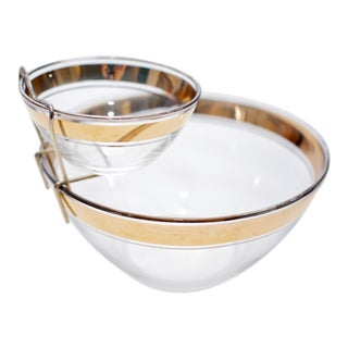 Vintage Mid-Century Gold Rimmed Chip and Dip Bowl Set - 2 Pieces For Sale