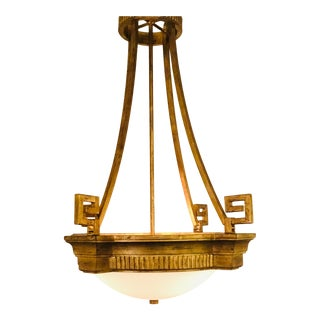 Currey & Co. Modern Antique Brass Finished Byron Chandelier For Sale