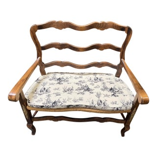 Vintage Country French Rush Seat Bench & Cushion For Sale