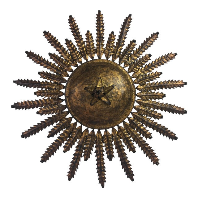 French Electrified Gilt Sunburst - Image 1 of 4