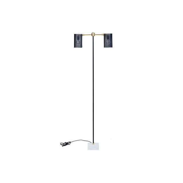 New two-arm floor lamp with marble base and perforated shades by FOCCO X SABIN. Black perforated shades with candelabra...