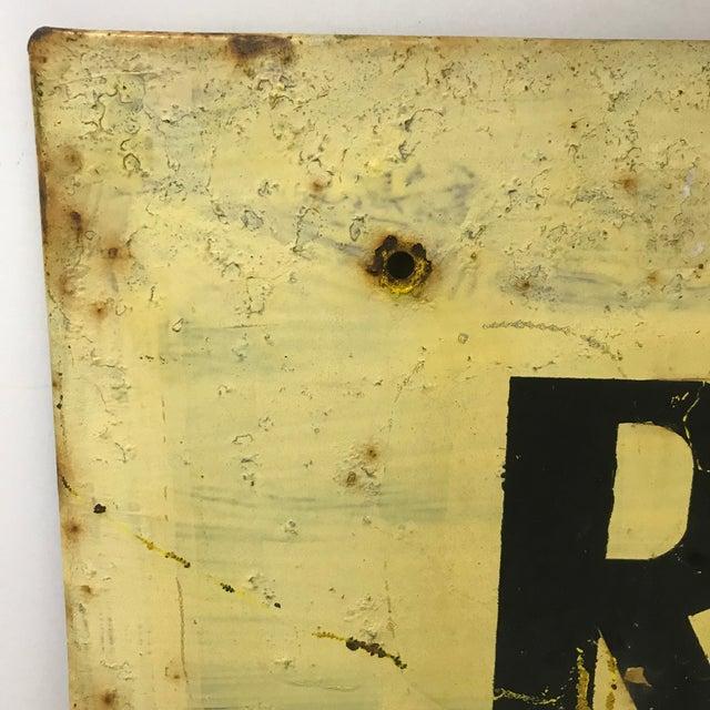 Vintage industrial hand painted metal sign - Road Work Ahead.