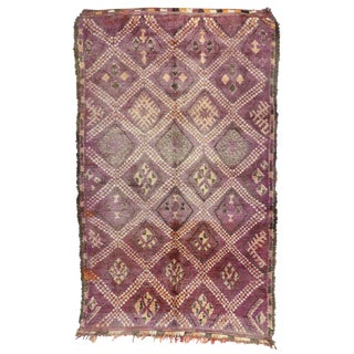 Vintage Berber Purple Moroccan Rug With Tribal Style - 6'00 X 10'00 For Sale