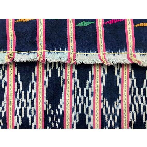 Vintage Pink & Indigo African Baule Cloth Textile For Sale - Image 4 of 6