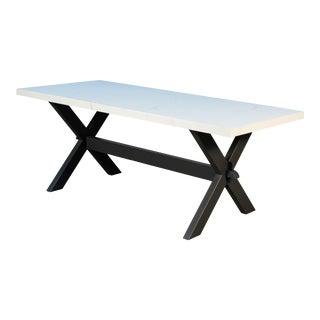 Sarreid Pine Dining Table, White Porcelain, Black For Sale