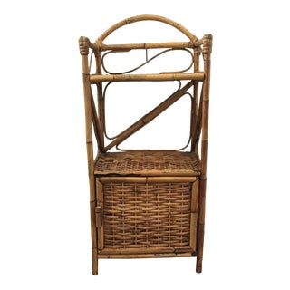 1970s Boho Chic Bamboo and Wicker Shelf For Sale