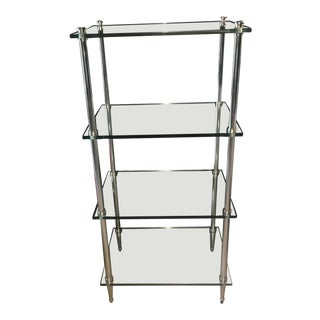 Mid-Century Modern, Thick Glass, Chrome, Silver Shelves, Shelving Unit For Sale