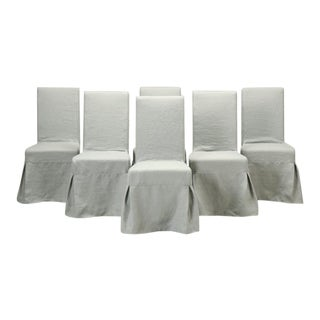 Set of 6 Side Chairs with Belgium Linen Covers For Sale
