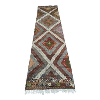 Mid 20th Century Turkish Kilim Runner-2′9″ × 10′2″ For Sale