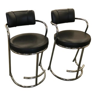 1980s Vintage Modern Black Leather Chrome Barstools-A Pair For Sale